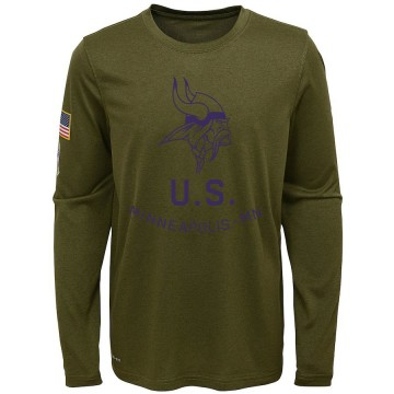 Youth Nike Minnesota Vikings Olive 2018 Salute to Service Performance Long Sleeve T-Shirt - Legend