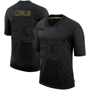 Youth Nike Minnesota Vikings Tyler Conklin Black 2020 Salute To Service Jersey - Limited