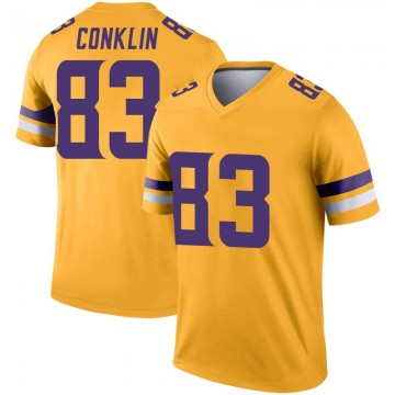 Youth Nike Minnesota Vikings Tyler Conklin Gold Inverted Jersey - Legend