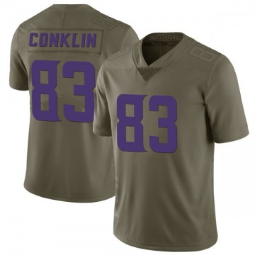Youth Nike Minnesota Vikings Tyler Conklin Green 2017 Salute to Service Jersey - Limited