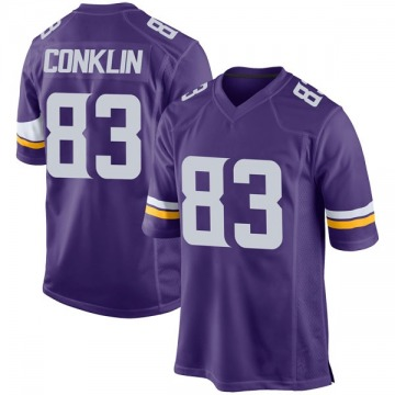 Youth Nike Minnesota Vikings Tyler Conklin Purple Team Color Jersey - Game